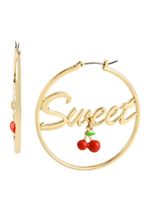 Betsey Johnson Sweet Cherries Hoop Earrings