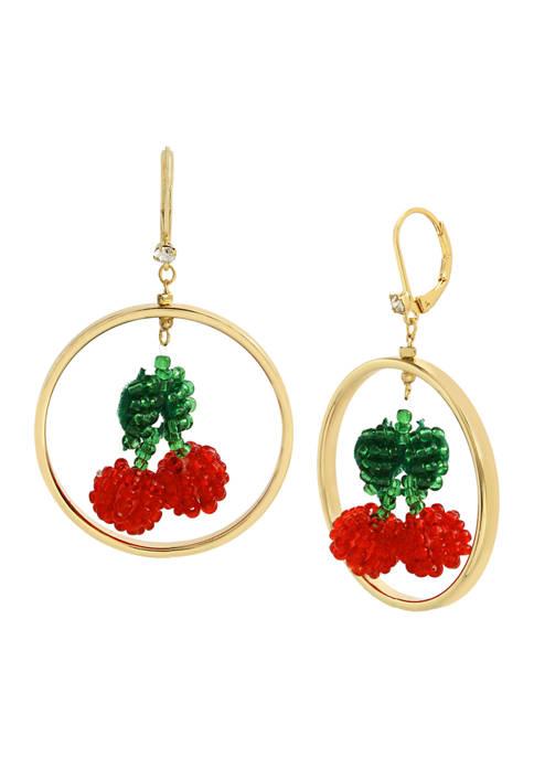 Betsey Johnson Beaded Cherry Orbital Earrings
