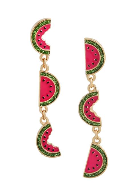 Watermelon Mismatched Linear Earrings