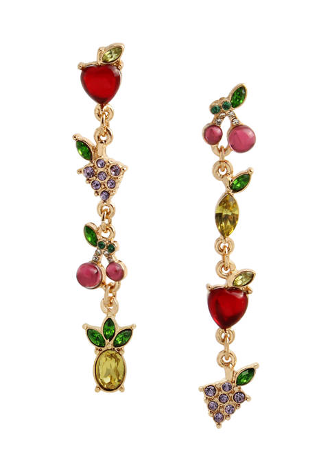 Betsey Johnson Mixed Fruit Mismatched Linear Earrings