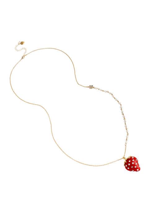 Betsey Johnson Strawberry Pendant Long Necklace