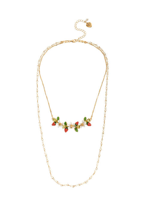 Betsey Johnson Strawberry Cluster Layered Necklace