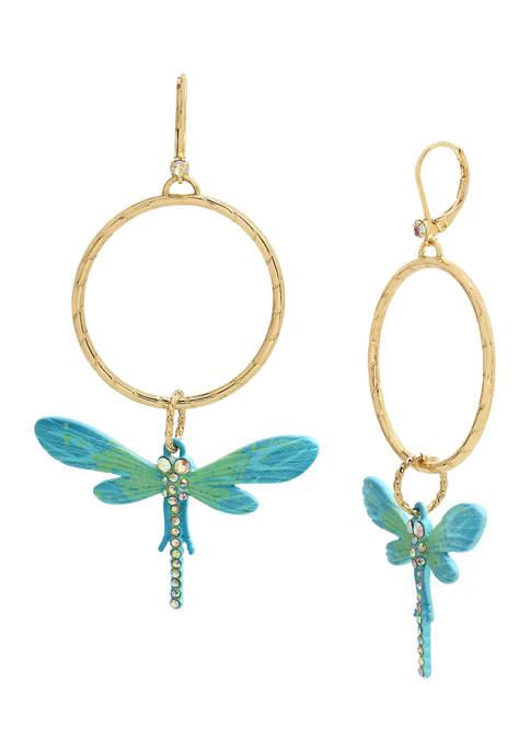Betsey Johnson Dragonfly Gypsy Hoop Earrings