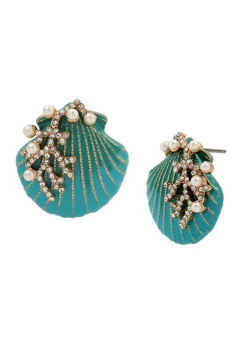 Betsey Johnson Seashell Button Earrings