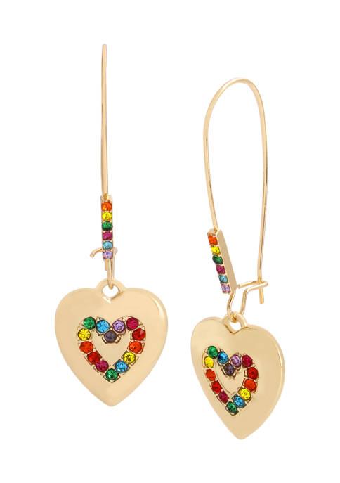 Rainbow Heart Dangle Earrings