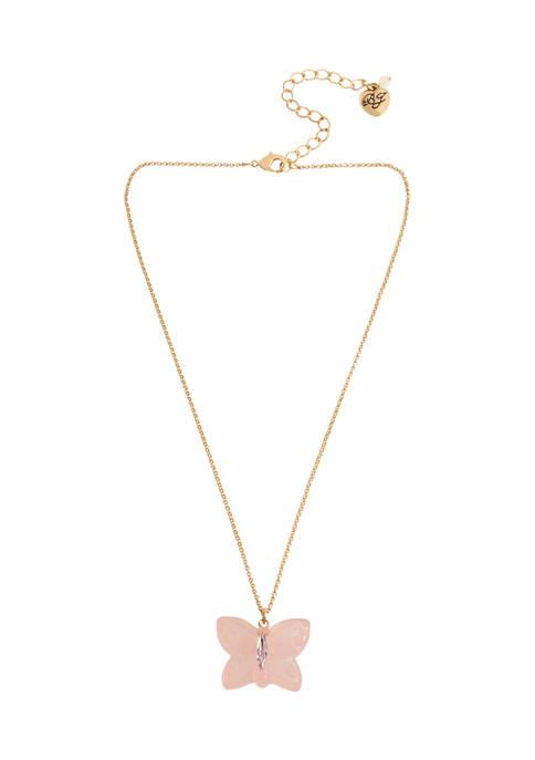 Betsey Johnson Gummy Butterfly Pendant Necklace