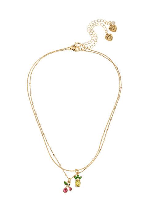 Cherry & Pineapple Pendant Necklace Set