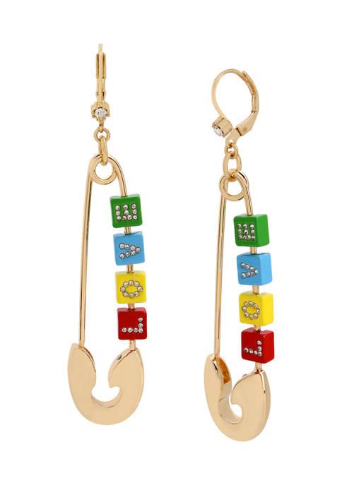 Betsey Johnson LOVE Safety Pin Earrings
