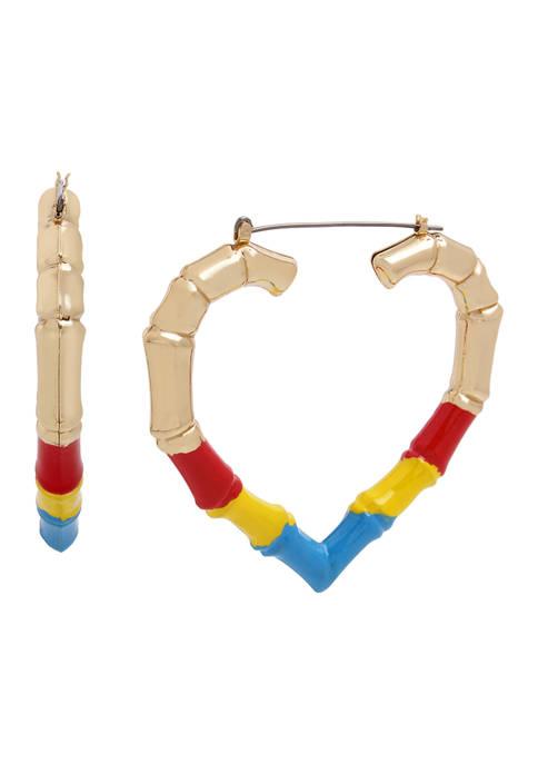 Bamboo Heart Hoop Earrings