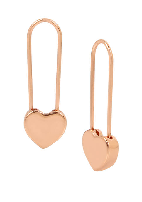 Betsey Johnson Heart Safety Pin Drop Earrings