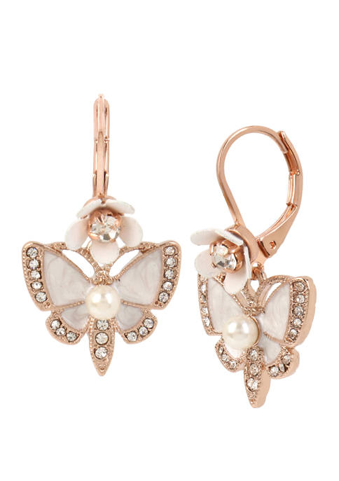Betsey Johnson Lab Created Butterfly Drop Earrings