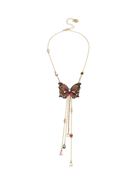 Betsey Johnson Lab Created Butterfly Y-Shaped Necklace