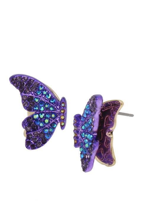 Betsey Johnson Lab Created Pavé Butterfly Stud Earrings