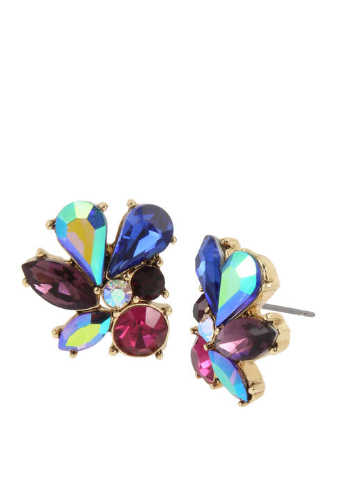 Betsey Johnson Lab Created Stone Cluster Stud Earrings
