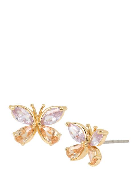 Betsey Johnson Cubic Zirconium Butterfly Stud Earrings