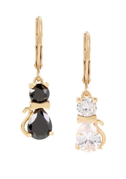 Betsey Johnson Cubic Zirconium Cat Drop Earrings