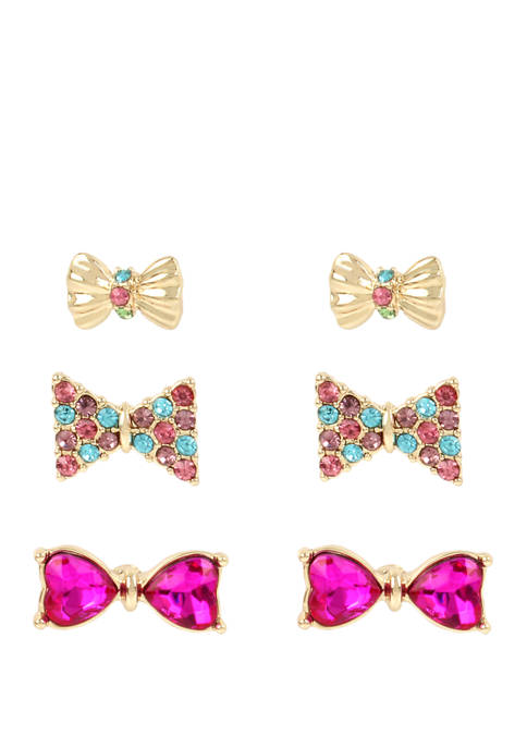 Betsey Johnson Lab Created Bow Stud Earrings Set
