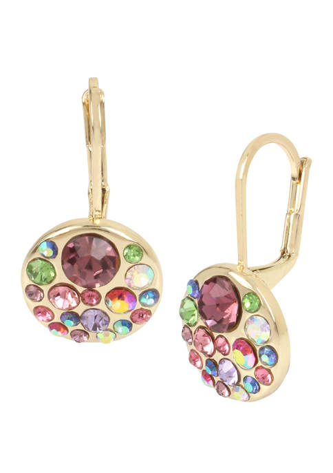 Betsey Johnson Lab Created Cluster Round Drop Earrings