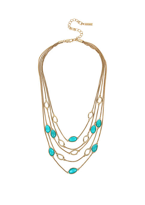 Kenneth Cole Shell Stone Multi Row Necklace