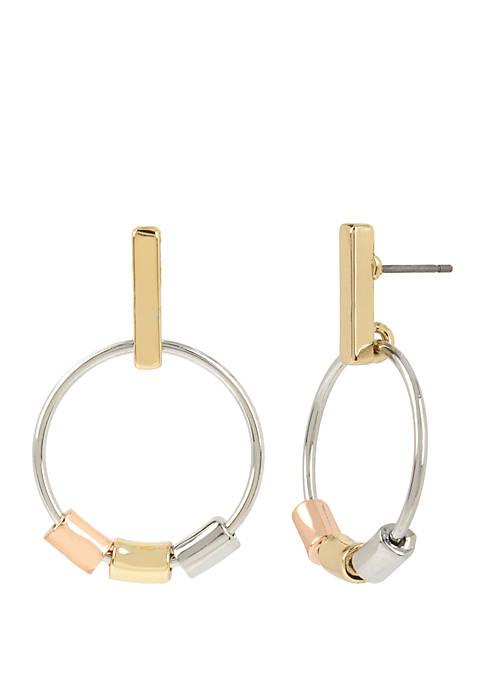 Tri Tone Stick Gypsy Hoop Earrings