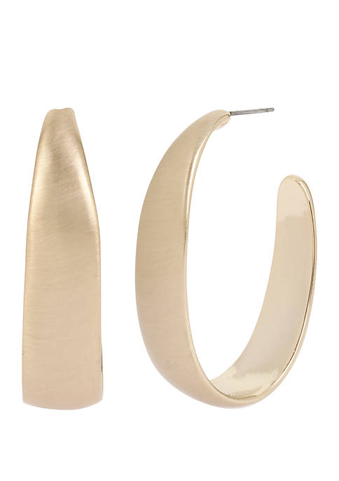 Kenneth Cole Gold Tone Sculptural Oval Shaped Hoop