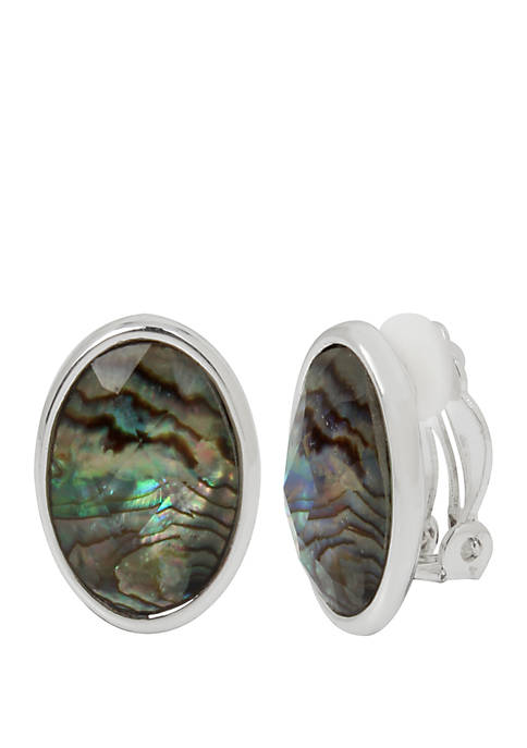 Abalone Stone Clip On Earrings
