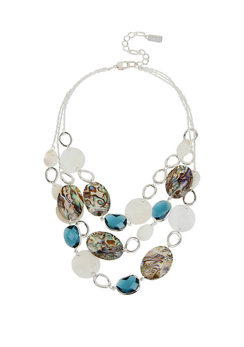 Kenneth Cole Mixed Abalone Multi Row Necklace