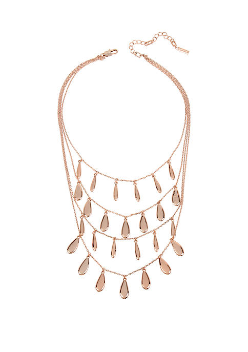 Rose Gold Multi Row Layered Teardrop Necklace