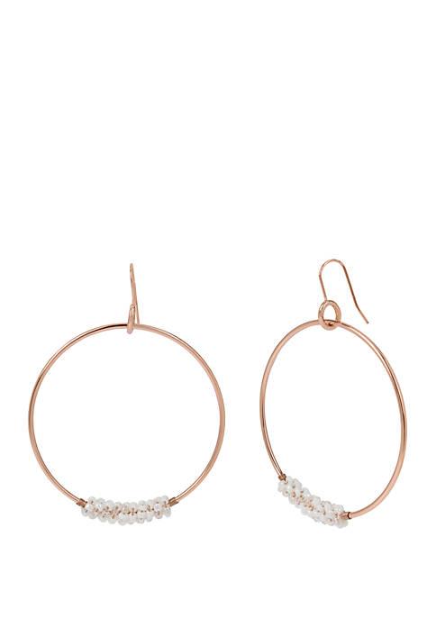White Woven Seed Bead Gypsy Hoop Earrings