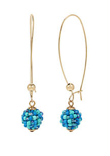 Kenneth Cole New York Turquoise Woven Seed Bead Ball Long Drop Earrings