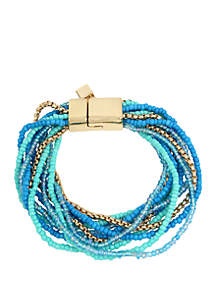 Kenneth Cole New York Turquoise Mixed Seed Bead Multi Row Magnetic Bracelet