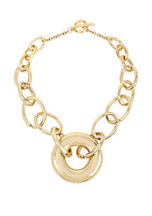 Kenneth Cole New York Gold Geometric Circle Link Pendant Necklace