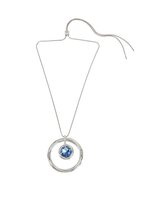 Stone Twist Circle Pendant Adjustable Slider Necklace