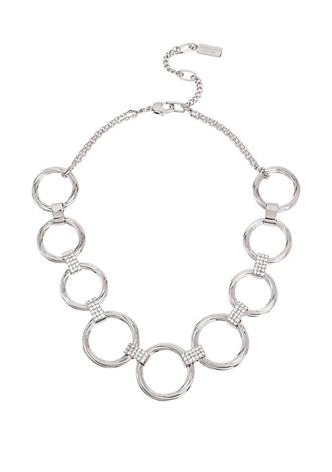Silver Pave Link Twist Circle Frontal Necklace