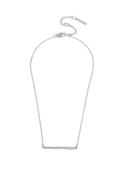Silver Pave Twist Bar Pendant Necklace