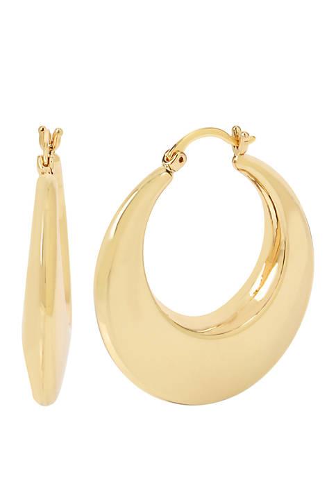 Gold Tone Puffy Round Hoop Earrings