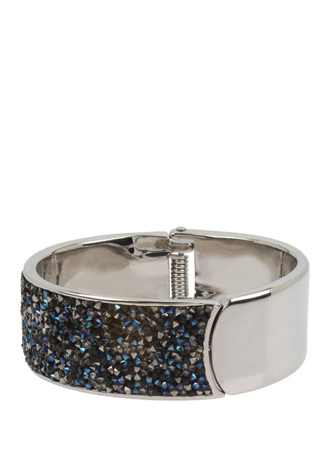 Kenneth Cole Sprinkle Stone Hinged Bangle Bracelet