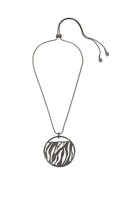 Kenneth Cole Zebra Pendant Long Necklace