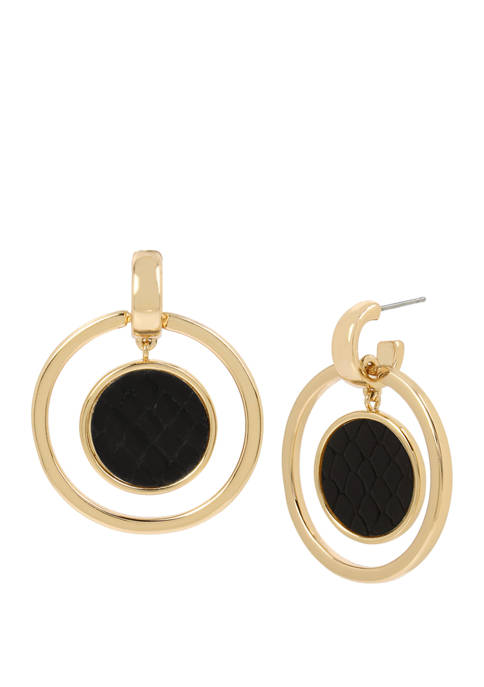 Kenneth Cole Gold Tone Orbital Drop Earrings