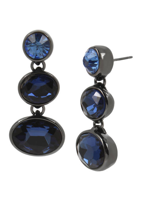 Blue Mixed Stone Triple Drop Earrings with Hematite Hardware Details