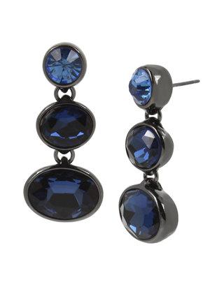 Oval Mixed Flowers Silver Drop Earrings