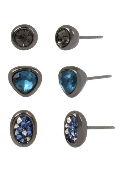 Set of 3 Round Stone Stud Earrings