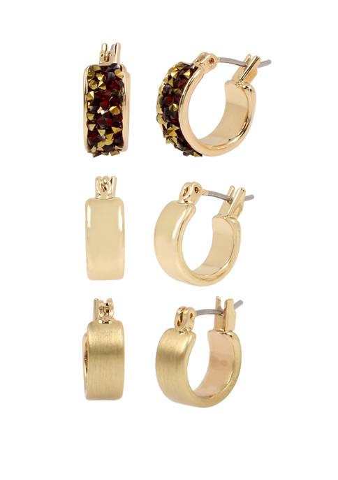Set of Sprinkle Stone Hoop Earrings