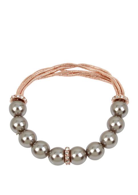 Kenneth Cole Gray Pearl Half Stretch Bracelet