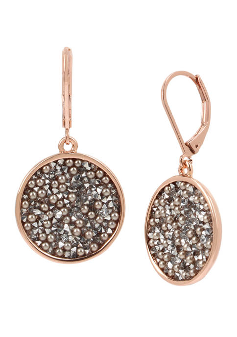 Gray Sprinkle Pearl and Stone Round Drop Earrings