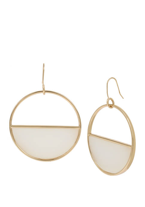 Kenneth Cole Gold Tone Geometric Circle Drop Earrings