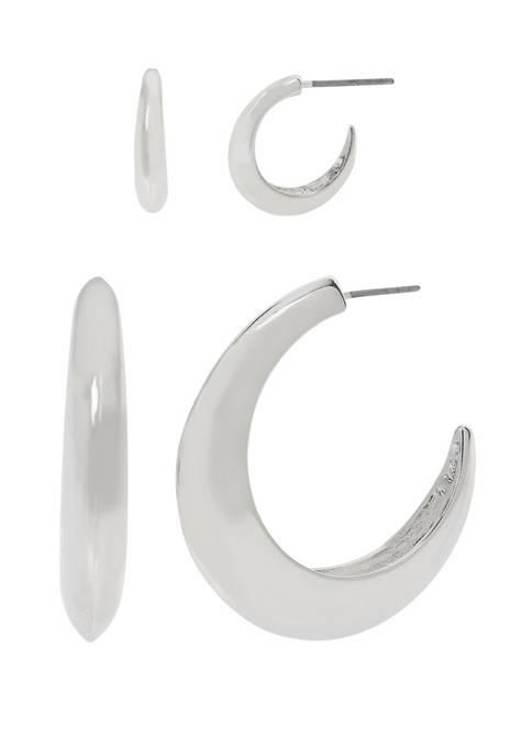 Set of 2 Curve Hoop Earrings