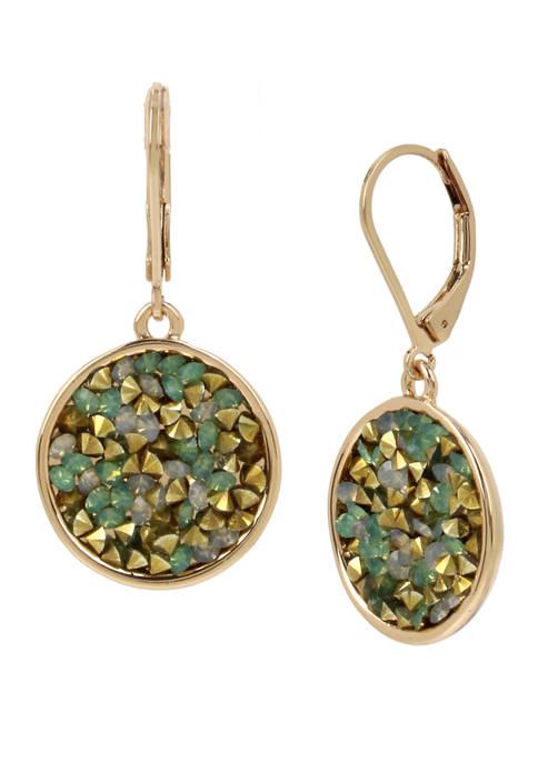 Sprinkle Stone Round Drop Earrings