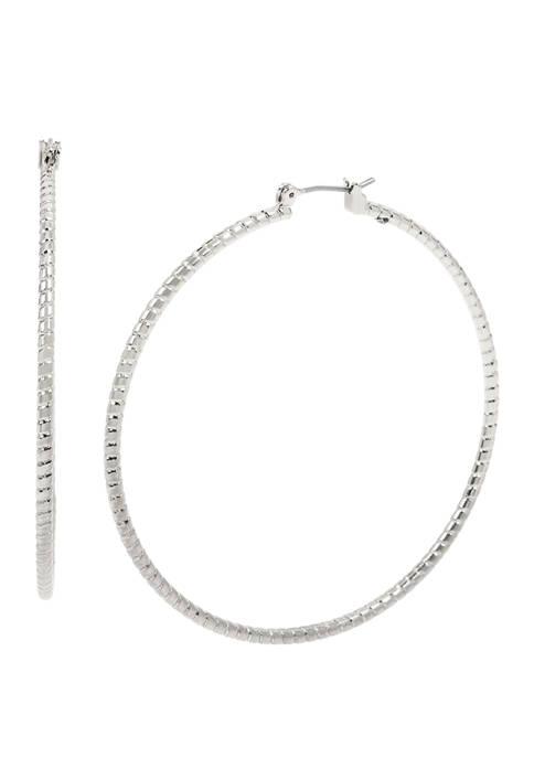 Large Diamond Cut Hoop Earrings