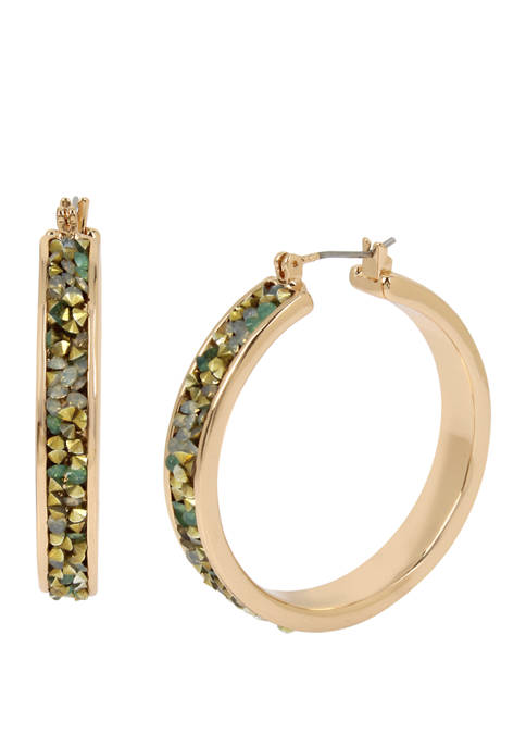 Kenneth Cole Gold Tone Sprinkle Stone Hoop Earrings